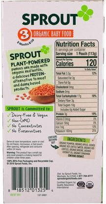 صحة الطفل، تغذية الطفل Sprout Organic, Baby Food, Stage 3, Pumpkin, Apple, Red Lentil With Cinnamon, 6 Pouches, 4 oz (113 g) Each