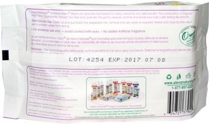 صحة الطفل، حفاضات، مناديل الطفل Aleva Naturals, Bamboo Baby Wipes, 30 Wipes