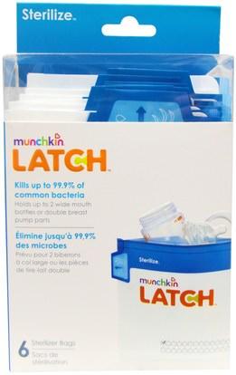 صحة الأطفال، أغذية الأطفال، تغذية الطفل والتنظيف Munchkin, Latch, Sterilizer Bags, 6 Bags