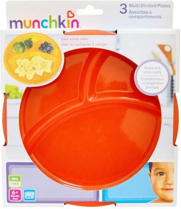 الأطفال الصحة، أطفال الأطعمة، أدوات المطبخ، لوحات الكؤوس السلطانيات Munchkin, Multi Divided Plates, 3 Pack