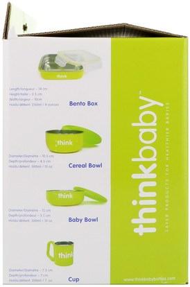 صحة الأطفال، أطفال الأطعمة، ثينكبابي الفئة Think, Thinkbaby, The Complete BPA-Free Feeding Set, Light Green, 1 Set