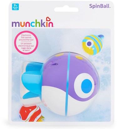 أطفال صحة، أطفال اللعب، حمام اللعب Munchkin, SpinBall, Electronic Swimming Fish Toy, 9+ Months, 1 Toy