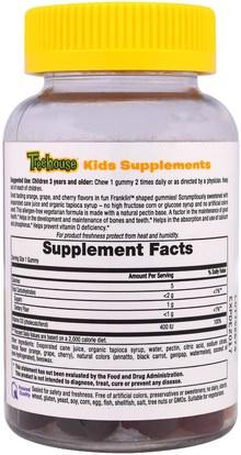 صحة الأطفال، مكملات الأطفال، منتجات حساسة للحرارة Treehouse Kids, Franklin and Friends, Gummies, Vitamin D3, Natural Fruit Flavors, 400 IU, 60 Gummies