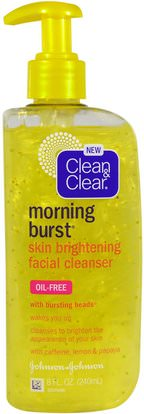 Clean & Clear, Morning Burst, Skin Brightening Facial Cleanser, 8 fl oz (240 ml) ,الجمال، العناية بالوجه، منظفات الوجه