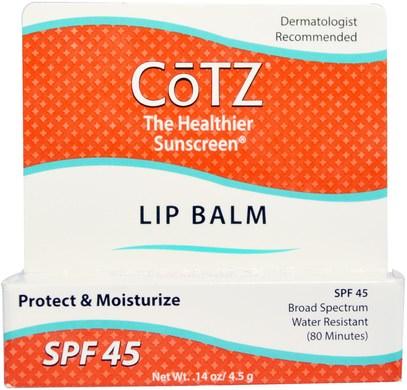 Cotz, Lip Balm, SPF 45, 0.14 oz (4.5 g) ,حمام، جمال، العناية الشفاه، بلسم الشفاه، العناية بالوجه، سف العناية بالوجه