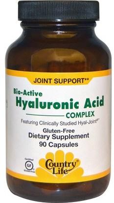Country Life, Bio-Active Hyaluronic Acid Complex, 90 Capsules ,الجمال، مكافحة الشيخوخة، حمض الهيالورونيك
