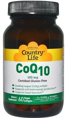Country Life, CoQ10, 100 mg, 60 Vegan Softgels ,المكملات الغذائية، أنزيم q10