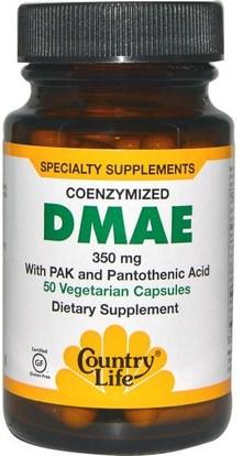 Country Life, DMAE, Coenzymized, 350 mg, 50 Veggie Caps ,والمكملات، والسوائل دماي وعلامات التبويب