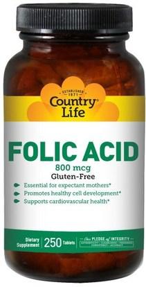 Country Life, Folic Acid, 800 mcg, 250 Tablets ,الفيتامينات، حمض الفوليك