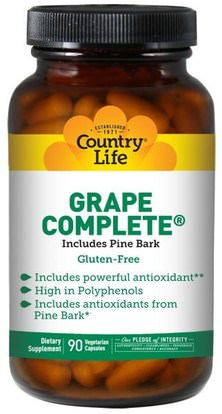 Country Life, Grape Complete, Includes Pine Bark, 90 Veggie Caps ,المكملات الغذائية، مضادات الأكسدة، استخراج بذور العنب، استخراج العنب