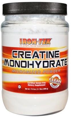 Country Life, Iron-Tek, Creatine Monohydrate, 17.6 oz (500 g) ,والرياضة، ومسحوق الكرياتين، والحديد تك الغلوتين الحرة