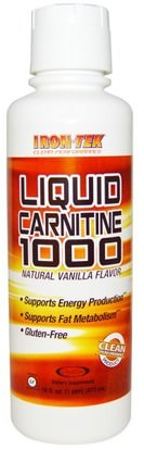 Country Life, Iron Tek, Liquid Carnitine 1000, Natural Vanilla Flavor, 16 fl oz (473 ml) ,المكملات الغذائية، والأحماض الأمينية، ل كارنيتين، ل كارنيتين السائل، والرياضة، والحديد تك الغلوتين الحرة
