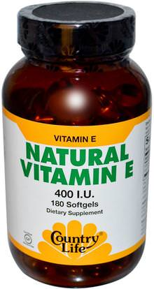 Country Life, Natural Vitamin E, 400 IU, 180 Softgels ,الفيتامينات، فيتامين e