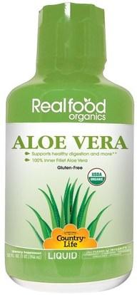Country Life, Realfood Organics, Aloe Vera Liquid, 32 fl oz (944 ml) ,المكملات الغذائية، الألوة فيرا، سائل الألوة فيرا