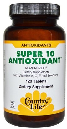 Country Life, Super 10 Antioxidant, 120 Tablets ,والمكملات الغذائية، ومضادات الأكسدة