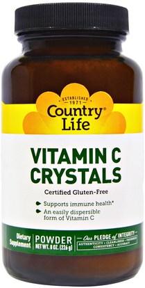 Country Life, Vitamin C Crystals, 8 oz (226 g) ,الفيتامينات، فيتامين ج مسحوق وبلورات