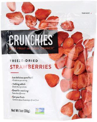 Crunchies Food Company, Freeze-Dried Strawberries, 1 oz (28 g) ,الطعام، الفاكهة المجفوفة