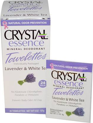 Crystal Body Deodorant, Crystal Essence Mineral Deodorant, Lavender & White Tea, 24 Towelettes (Discontinued Item) ,حمام، الجمال، مزيل العرق المرأة