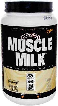 Cytosport, Inc, Genuine Muscle Milk, Lean Muscle Protein, Cake Batter, 39.5 oz (1120 g) ,المكملات الغذائية، بروتين مصل اللبن، تجريب