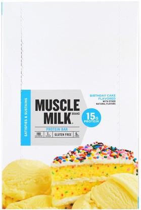 Cytosport, Inc, Muscle Milk, Protein Bar, Birthday Cake, 12 Bars, 1.76 oz (50 g) Each ,والرياضة، والمكملات الغذائية، والبروتين