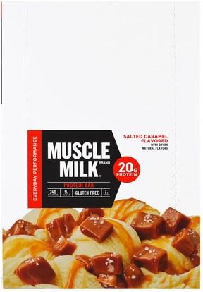 Cytosport, Inc, Muscle Milk, Protein Bar, Salted Caramel, 12 Bars, 2.25 oz (64 g) Each ,والرياضة، والمكملات الغذائية، والبروتين