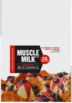 Cytosport, Inc, Muscle Milk Red Bar, Blueberry Waffle Cone, 12 Bars, 2.18 oz (62 g) Each ,والرياضة، والمكملات الغذائية، والبروتين