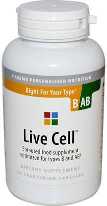 Dadamo, Live Cell, Right For Your Type B/AB, 90 Veggie Caps ,والمكملات الغذائية، ومضادات الأكسدة، دادامو شخصية نوع الدم التغذية