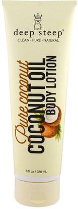 Deep Steep, Coconut Oil Body Lotion, Pure Coconut, 8 fl oz (236 ml) ,حمام، الجمال، زيت جوز الهند الجلد، غسول الجسم