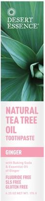 Desert Essence, Natural Tea Tree Oil Toothpaste, Ginger, 6.25 oz (176 g) ,حمام، الجمال، معجون الأسنان، الجلد، شجرة الشاي، الشاي شجرة المنتجات