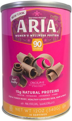 Designer Protein, Aria, Womens Wellness Protein, Chocolate, 12 oz (340 g) ,والمكملات الغذائية، والبروتين
