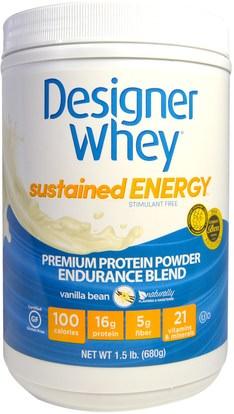 Designer Protein, Designer Whey, Premium Protein Powder, Endurance Blend, Vanilla Bean, 1.5 lbs (680 g) ,الصحة، الطاقة، المكملات الغذائية، البروتين