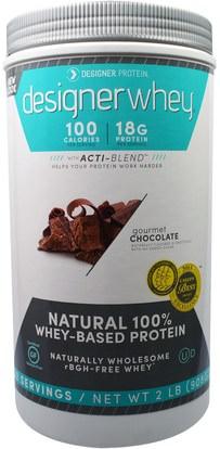 Designer Protein, Designer Whey, with Acti-Blend, Gourmet Chocolate, 2 lbs (908 g) ,المكملات الغذائية، بروتين مصل اللبن، بروتين الرياضة