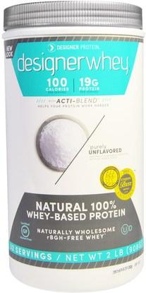 Designer Protein, Designer Whey, with Acti-Blend, Unflavored, 2 lbs (908 g) ,المكملات الغذائية، بروتين مصل اللبن