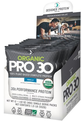 Designer Protein, Organic Pro 30, Vanilla, 12 Packs, 1.62 oz (46 g) Each ,المكملات الغذائية، يهز بروتين مصل اللبن