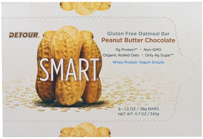 Detour, Gluten Free Oatmeal Bar, Peanut Butter Chocolate, 9 Bars, 1.3 oz (38 g) Each ,الطعام، الوجبات الخفيفة، بروتين أشرطة