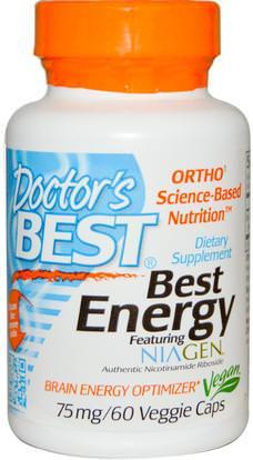 Doctors Best, Best Energy Featuring Niagen, 75 mg, 60 Veggie Caps ,والصحة، والطاقة