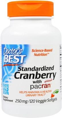Doctors Best, Standardized Cranberry with Pacran, 250 mg, 120 Veggies Softgels ,الأعشاب، التوت البري