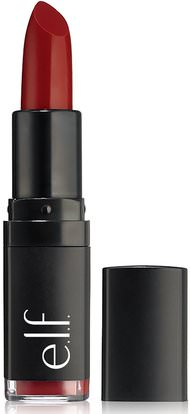 E.L.F. Cosmetics, Velvet Matte, Lipstick, Ruby Red, 0.14 oz (4.1 g) ,حمام، الجمال، العناية الشفاه، الشفاه عصا، أحمر الشفاه، لمعان، بطانة
