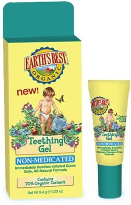 Earths Best, Teething Gel, 0.33 oz (9.4 g) ,صحة الطفل، التسنين الطفل، العناية بالفم الطفل