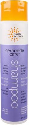 Earth Science, Ceramide Care, Fragrance Free Shampoo, 10 fl oz (295 ml) ,حمام، الجمال، الشامبو، الشعر، فروة الرأس، مكيف