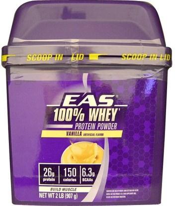 EAS, 100% Whey Protein Powder, Vanilla, 2 lb (907 g) ,المكملات الغذائية، بروتين مصل اللبن، والرياضة