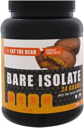 Eat the Bear, Bare Isolate, Whey Pure Protein Isolate, Chocolate Peanut Butter, 2 lbs (908 g) ,والرياضة، والمكملات الغذائية، بروتين مصل اللبن