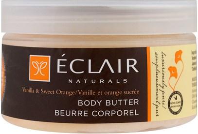 Eclair Naturals, Body Butter, Vanilla & Sweet Orange, 4 oz (113 g) ,الصحة، الجلد