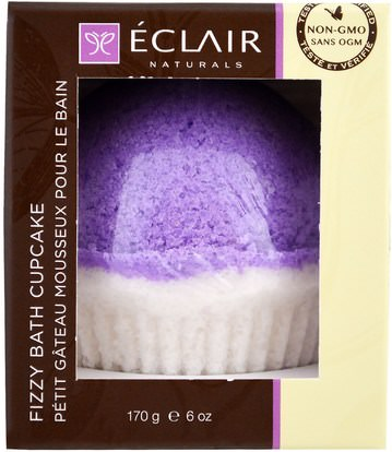 Eclair Naturals, Fizzy Bath Cupcake, Lavender Vanilla, 6 oz (170 g) ,حمام، الجمال، أملاح الاستحمام