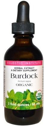 Eclectic Institute, Burdock Organic, 2 fl oz (60 ml) ,الأعشاب، الجذر الأرقطيون