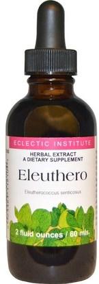 Eclectic Institute, Eleuthero, 2 fl oz (60 ml) ,المكملات الغذائية، أدابتوغين، الانفلونزا الباردة والفيروسية، الجينسنغ، إليوثيرو