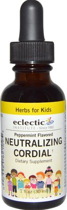 Eclectic Institute, Herbs For Kids, Neutralizing Cordial, Peppermint Flavored, 1 fl oz (30 ml) ,الصحة، العلاجات العشبية للأطفال