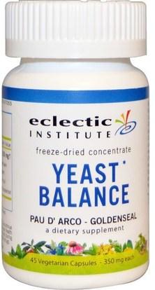 Eclectic Institute, Yeast Balance, Pau D Arco - Goldenseal, 350 mg, 45 Veggie Caps ,الصحة، المبيضات