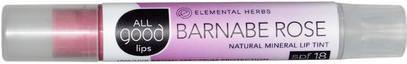 All Good Products, All Good Lips, Natural Mineral Lip Tint, SPF 18, Barnabe Rose, 2.55 g ,حمام، الجمال، أحمر الشفاه، معان، بطانة، العناية الشفاه