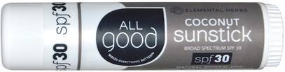 All Good Products, Coconut Sunstick, SPF 30.6 oz ,حمام، الجمال، واقية من الشمس، سف 30-45، والأطفال والطفل واقية من الشمس